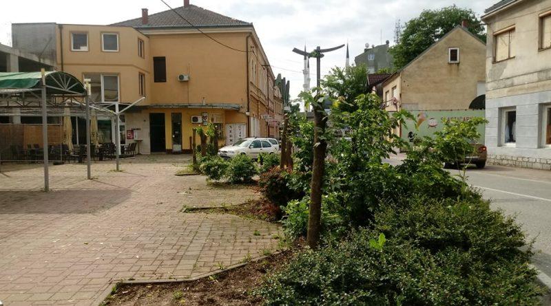 ZBOG ZAŠTITE OBJEKTA  Šefik Sinanović potkresao stabla na javnoj površini kako bi postavio privremeni montažni krov na svoj nedovršeni objekat
